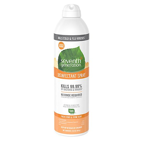Seventh Generation Disinfectant Spray Fresh Citrus & Thyme Scent - 13.9 Oz
