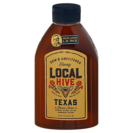 Lr Rice Raw & Unfiltered Us Local Texas Wildflower Honey In A Bottle - 24 Oz