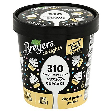 Breyers Delights Ice Cream Reduced Fat Vanilla Cupcake - 16 Oz