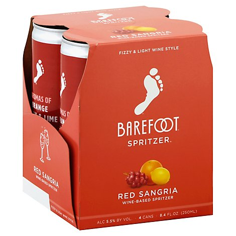 Barefoot Spritzer Red Sangria Wine Cans - 4-250 Ml