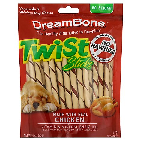 DreamBone Dog Chews Vegetable & Chicken Twist Sticks 50 Count - 9.7 Oz