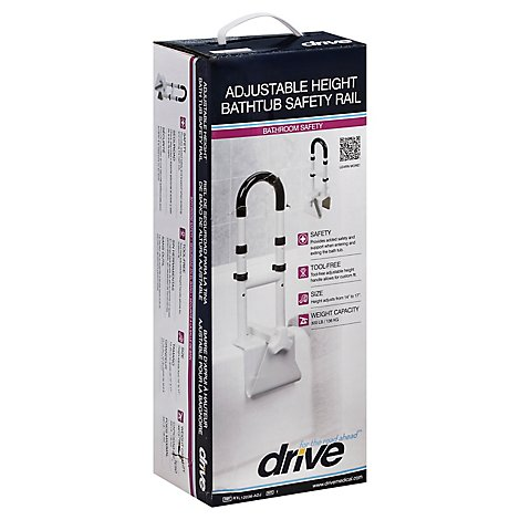 Drive Medical Bath Tub Safety Rail Adj Ht White - Each