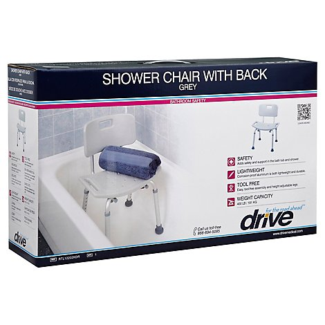 Drive Medical Shower Chair With Back Grey - Each