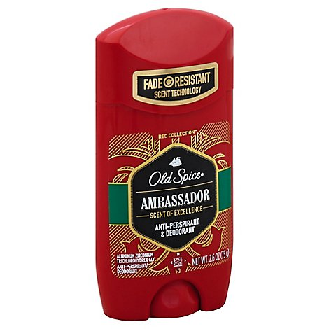 Old Spice Red Collection Anti Perspirant & Deodorant Invisible Solid Ambassador - 2.6 Oz