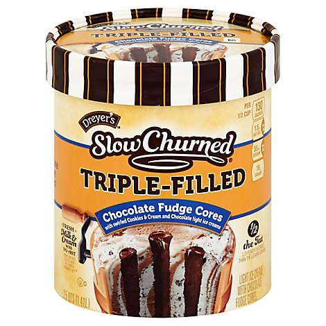 Dreyers Edys Slow Churned Triple-Filled Chocolate Fudge Core - 1.5 Quart