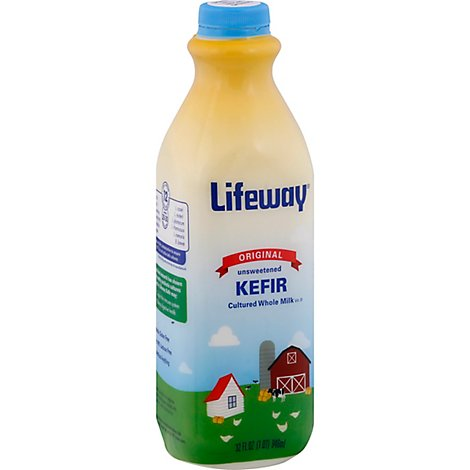 Lifeway Kefir Drink Cultured Milk Smoothie Probiotic Lowfat Plain Unsweetened - 8 Fl. Oz.
