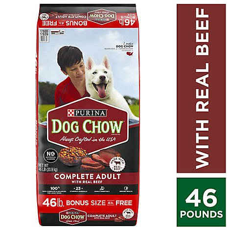 Dog Chow Dog Food Dry Complete Real Beef - 46 Lb