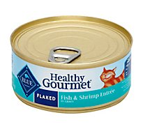 Blue Healthy Gourmet Cat Food Flaked Fish & Shrimp Entree Can - 5.5 Oz