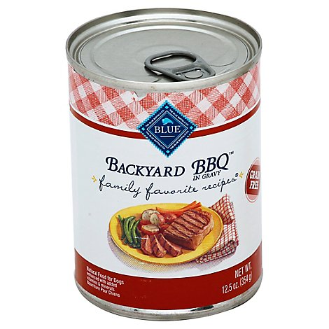 Blue Dog Food Family Favorite Recipes Backyard Bbq In Gravy Can - 12.5 Oz