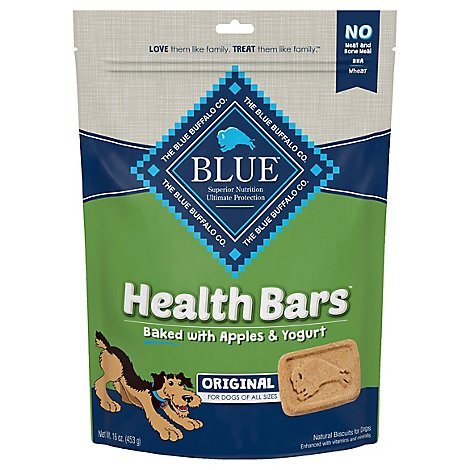 Blue Dog Food Biscuits Health Bars Baked Apples & Yogurts Bag - 16 Oz