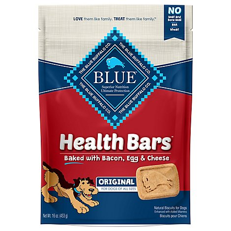 Blue Dog Food Biscuits Health Bars Baked Bacon Egg & Cheese Bag - 16 Oz