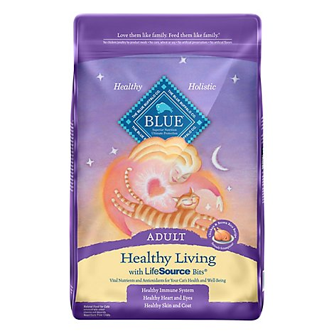 Blue Cat Food Healthy Living Adult Chicken & Brown Rice Recipe - 10 Lb