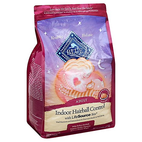 Blue Cat Food Indoor Hairball Control Adult Chicken & Brown Rice Recipe - 5 Lb