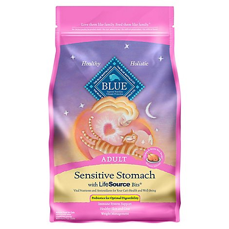 Blue Cat Food Sensitive Stomach Adult Chicken & Brown Rice Recipe - 5 Lb