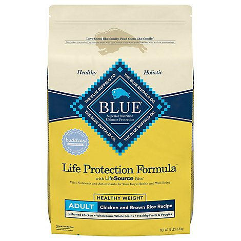 Blue Dog Food Life Protection Formula Adult Healthy Weight Chicken & Brown Rice Bag - 15 Lb