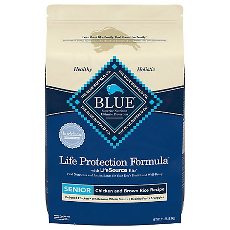 Blue Dog Food Life Protection Formula Senior Chicken & Brown Rice Bag - 15 Lb