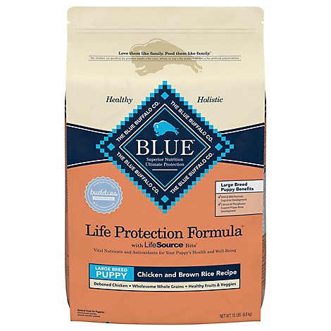 Blue Dog Food Life Protection Formula Puppy Chicken & Brown Rice Large Breed Bag - 15 Lb