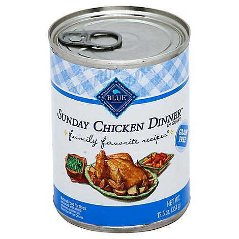Blue Dog Food Family Favorite Recipes Sunday Chicken Dinner Can - 12.5 Oz