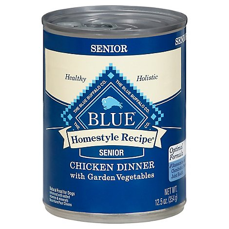 Blue Dog Food Homestyle Recipe Dinner Chicken With Garden Vegetable Senior Can - 12.5 Oz