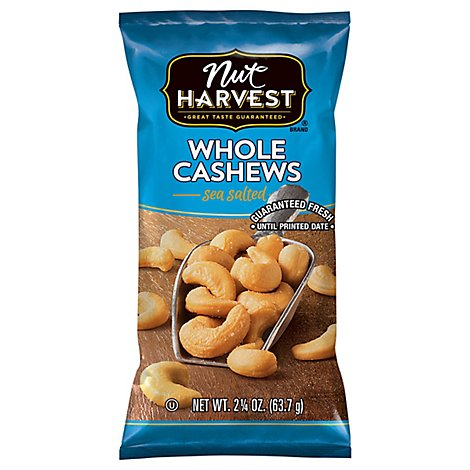 Nut Harvest Cashew Whole Sea Salted Bag - 2.25 Oz