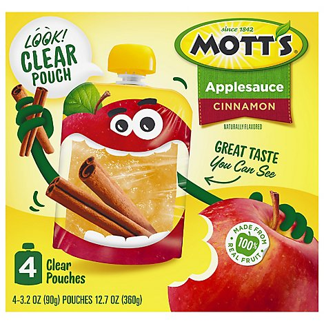 Motts Cinnamon Applesauce clear pouches - 4-3.2 Oz