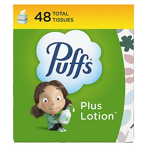 Puffs Facial Tissue Plus Lotion 2-Ply White Box - 48 Count