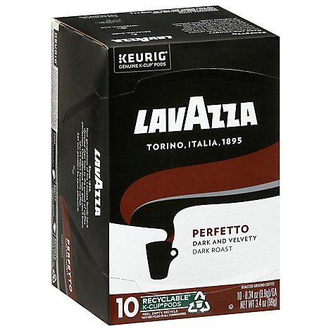 LavAzza Coffee K-Cup Pods Espresso Roast Perfetto Box - 10-0.34 Oz