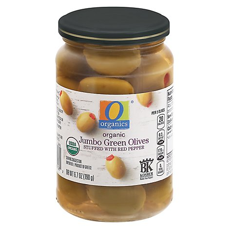 O Organics Olives Green Jumbo Stuffed W Red Pepper - 6.7 Oz
