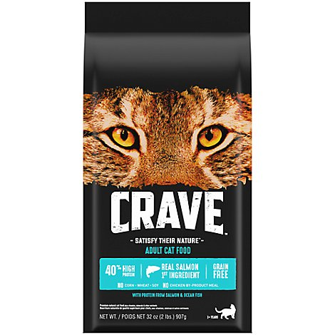 CRAVE Cat Food Dry Adult Grain Free High Protein Salmon & Ocean Fish Bag - 2 Lb