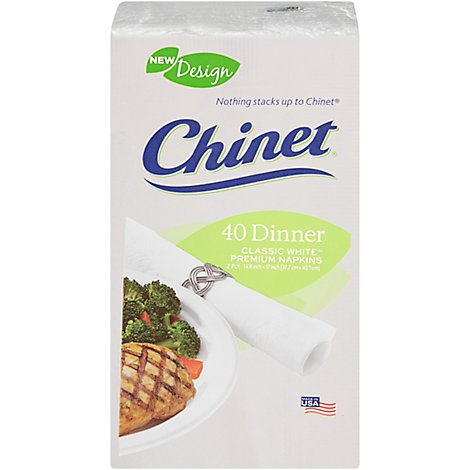 Chinet Napkins Dinner Classic White Wrapper - 40 Count