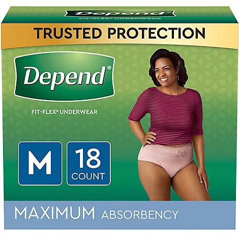 Depend Maximum Absorbency for Women Medium - 18 Count