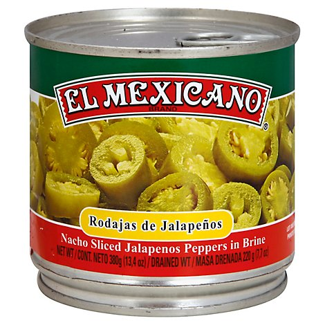 El Mexicano Jalapenos Sliced Nacho Pepper in Brine Can - 13.4 Oz