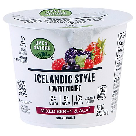 Open Nature Icelandic Yogurt Mixed Berry & Acai Lowfat - 5.3 Oz