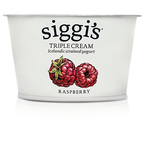 Siggis Yogurt Style Skyr Strained Triple Cream Raspberry Cup - 4 Oz