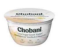 Chobani Yogurt Greek Less Sugar Madagascar Vanilla & Cinnamon - 5.3 Oz