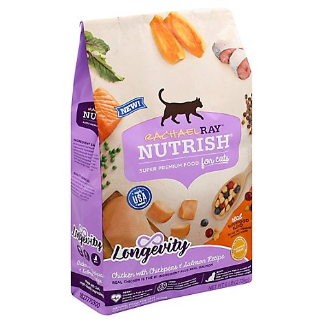Rachael Ray Nutrish Food for Cats Super Premium Chicken with Chickpeas & Salmon Recipe Bag - 6 Lb
