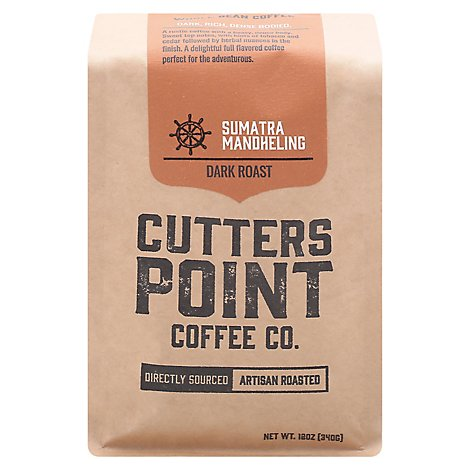 Cutters Point Sumatra Whole Bean Coffee - 12 Oz