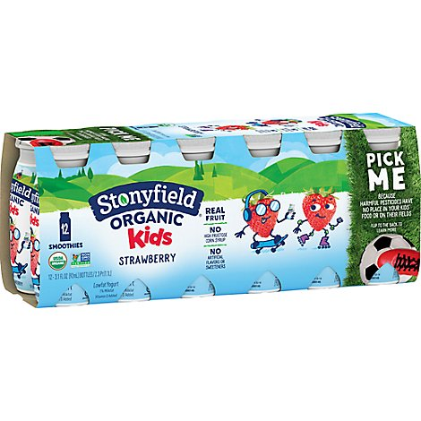 Stonyfield Organic Kids Smoothies Strawberry 12 Count - 37.2 Fl. Oz.