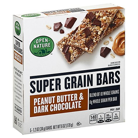Open Nature Bars Super Grain Peanut Butter Dark Chocolate - 6 Oz
