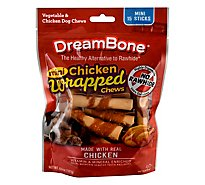 DreamBone Dog Chews No Rawhide Vegetable & Chicken Sticks Mini Chicken Wrapped 15 Count - 6.6 Oz