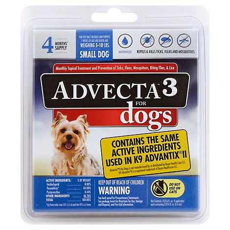 Advecta 3 For Dogs Flea & Tick Treatment Small Dog 5 to 11 Lbs - 4 Count