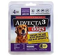 Advecta 3 For Dogs Flea & Tick Treatment Large Dog 21 to 55 Lbs - 4 Count