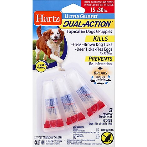 Hartz UltraGuard Topical For Dog & Puppies Dual Action 15 to 30 Lbs Blister Pack - 3 Count