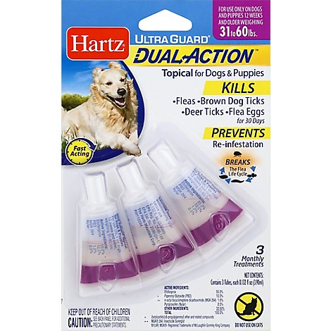 Hartz UltraGuard Topical For Dog & Puppies Dual Action 31 to 60 Lbs Blister Pack - 3 Count