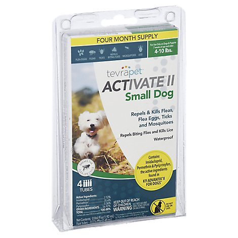 TevraPet Activate II Flea & Tick Topical Dog Small 4-10 Lbs Blister Pack - 4 Count