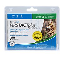 TevraPet FirstAct Plus Flea & Tick Topical For Cats Over 1.5 Lbs Blister Pack - 3 Count