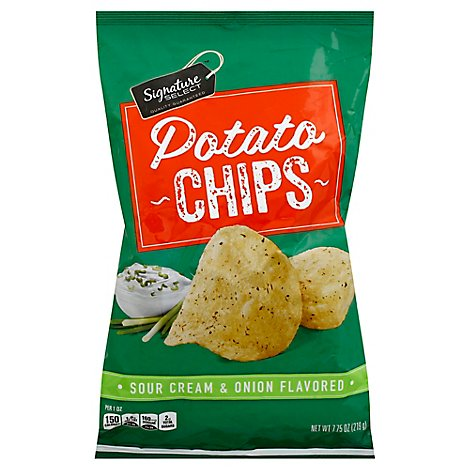 Signature SELECT Potato Chips Sour Cream & Onion Flavored - 7.75 Oz
