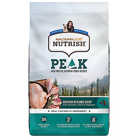 Rachael Ray Nutrish Peak Food for Dogs Wetlands with Chicken and Duck Recipe Bag - 12 Lb