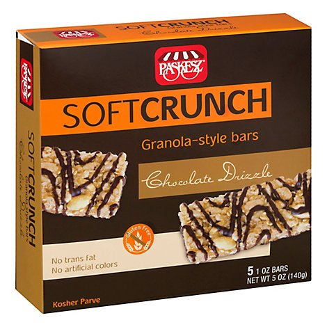 Paskesz Bar Granola Soft Crunch Chocolate Drizzle - 5 Oz
