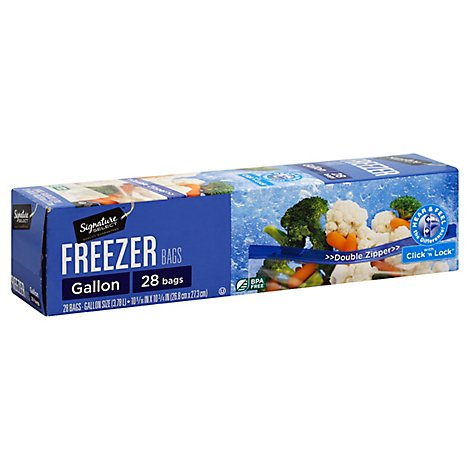 Signature SELECT Bags Freezer Click & Lock Double Zipper Gallon - 28 Count